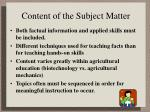 content of the subject matter