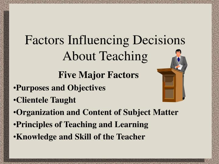 Factors influencing decisions about teaching
