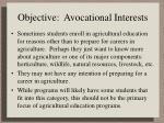 objective avocational interests