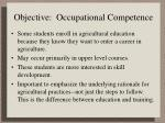 objective occupational competence