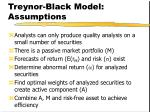 treynor black model assumptions