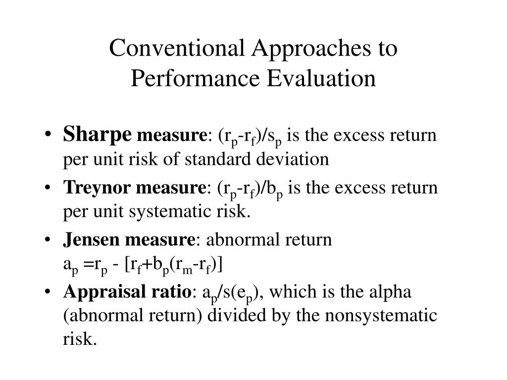 Conventional Approaches to Performance Evaluation