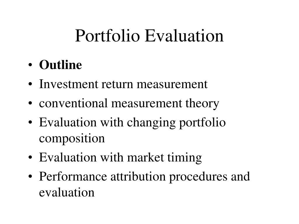 portfolio evaluation l.