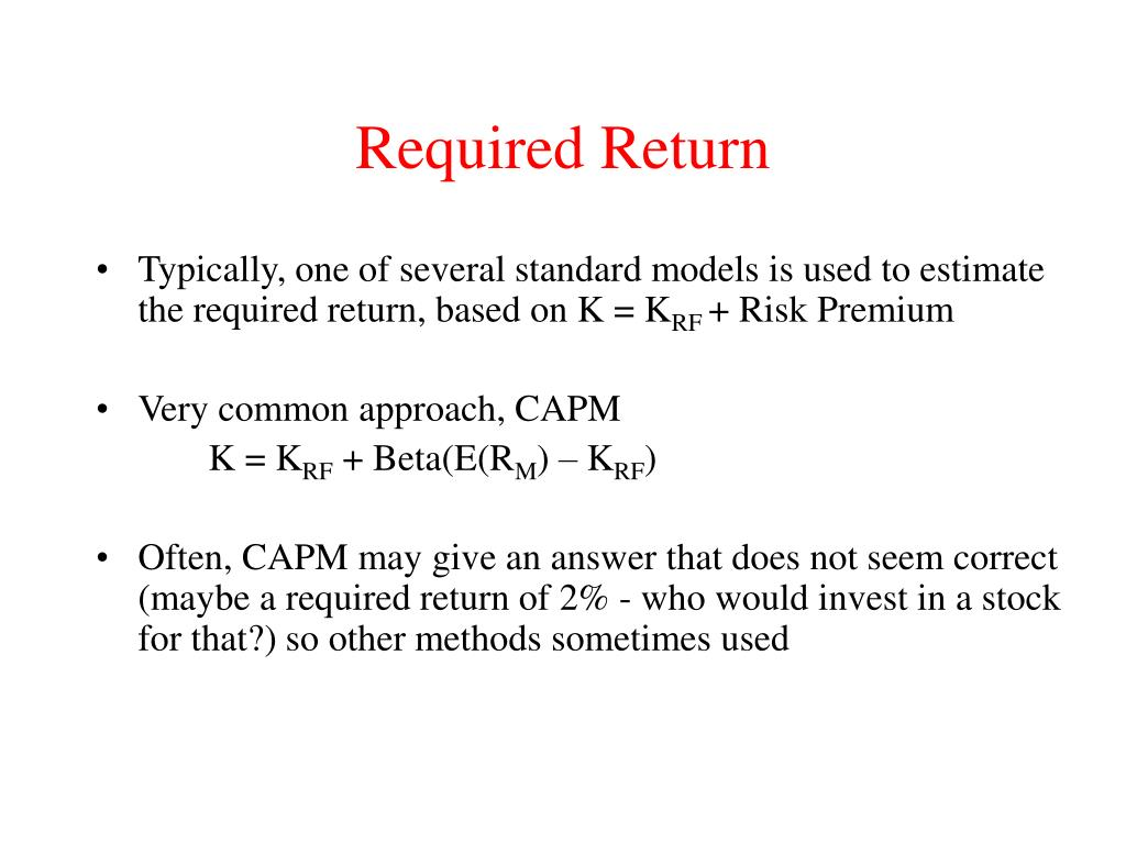 capital asset pricing model and standard