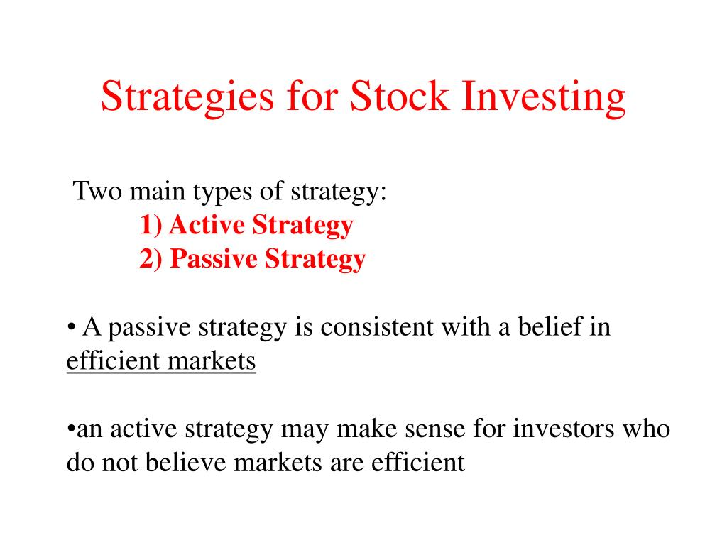 Strategies for Stock Investing