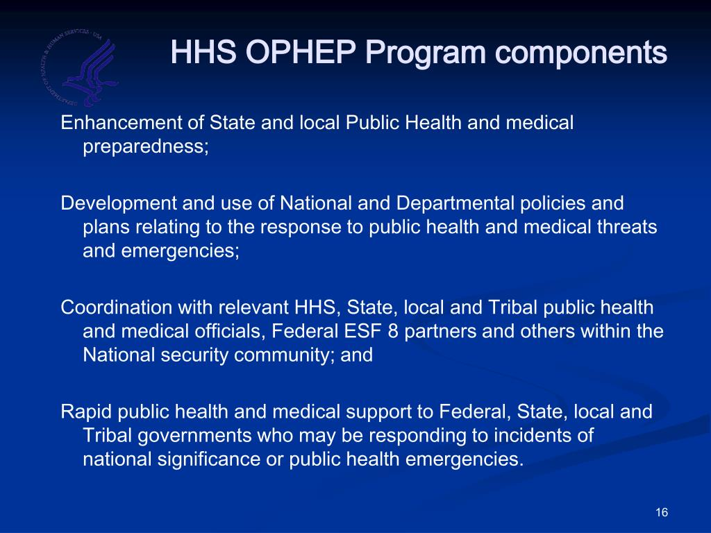 HHS OPHEP Program components
