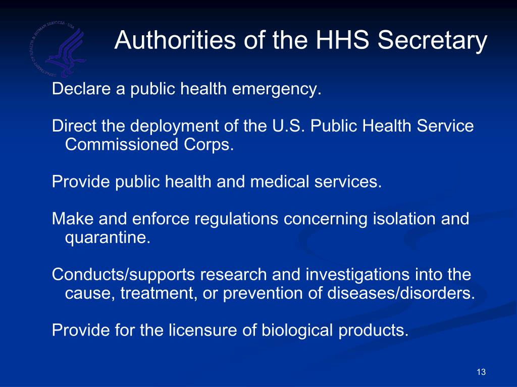 Authorities of the HHS Secretary