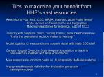 tips to maximize your benefit from hhs s vast resources