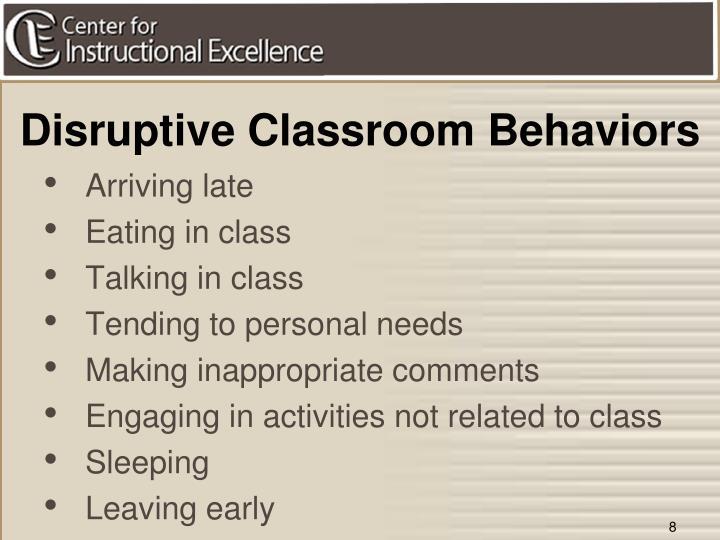 Disruptive Classroom Behaviors