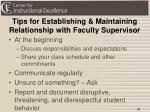tips for establishing maintaining relationship with faculty supervisor