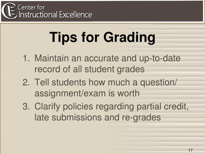 Tips for Grading