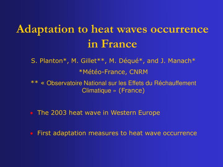 adaptation to heat waves occurrence in france n.