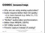 codec issues reqs