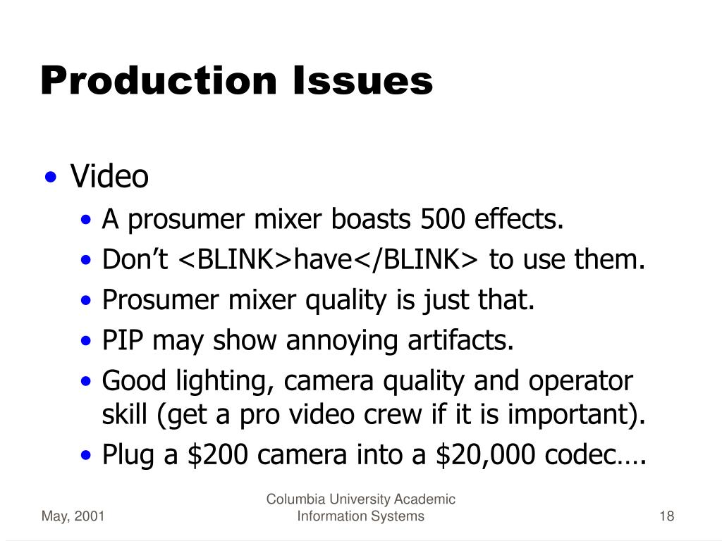 Production Issues