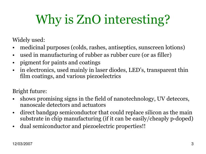 Why is zno interesting