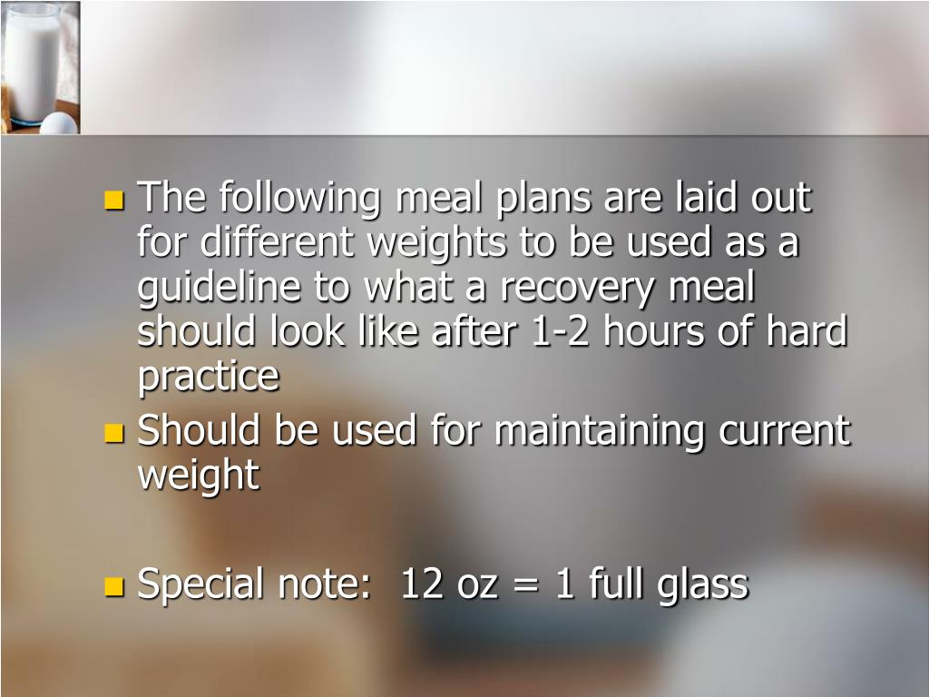 The following meal plans are laid out for different weights to be used as a guideline to what a recovery meal should look like after 1-2 hours of hard practice