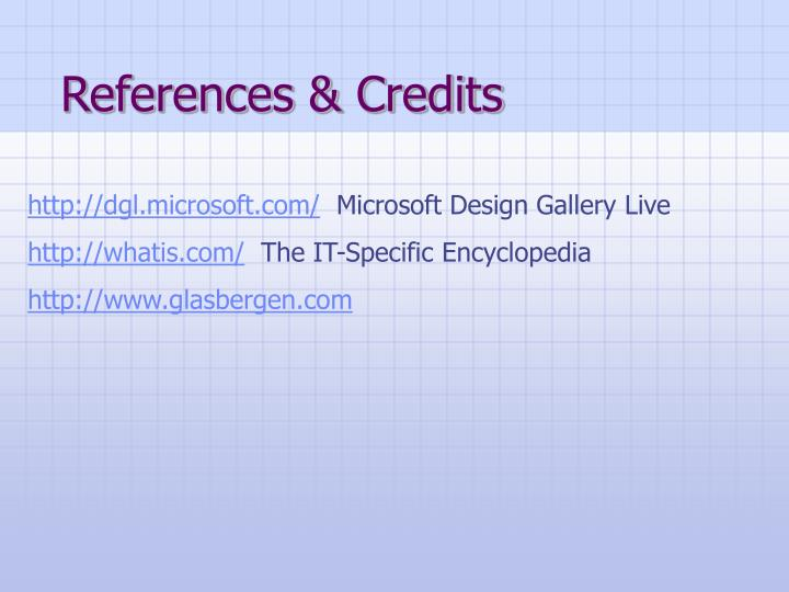 References & Credits