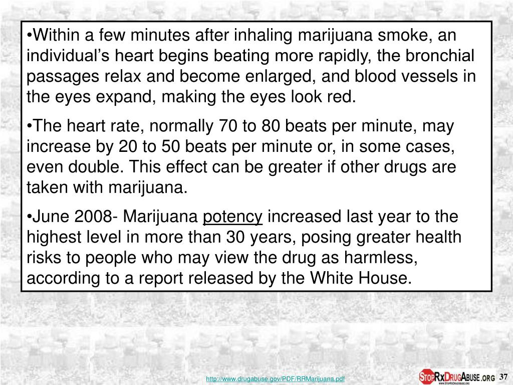 Within a few minutes after inhaling marijuana smoke, an individual's heart begins beating more rapidly, the bronchial passages relax and become enlarged, and blood vessels in the eyes expand, making the eyes look red.