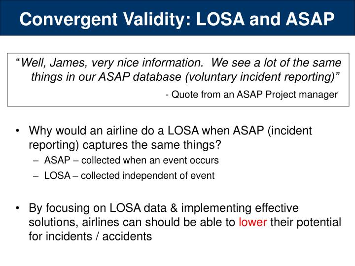 Convergent Validity: LOSA and ASAP