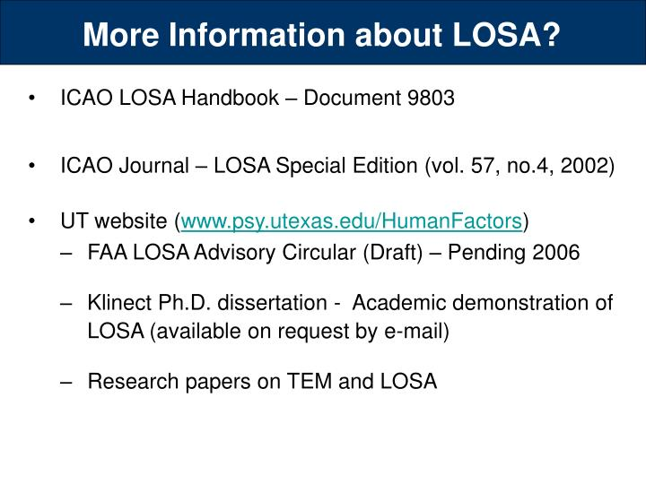 More Information about LOSA?