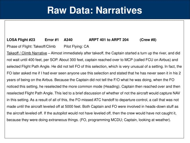 Raw Data: Narratives