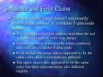 evidence and final claim