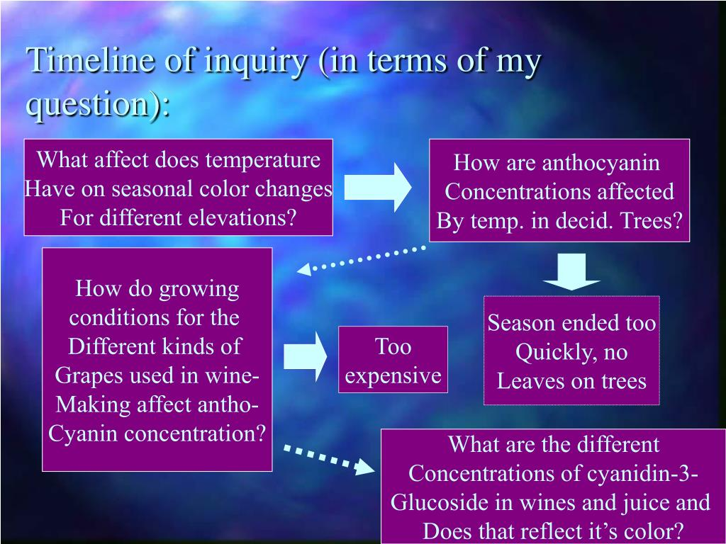 Timeline of inquiry (in terms of my question):