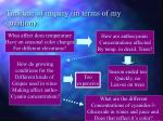 timeline of inquiry in terms of my question