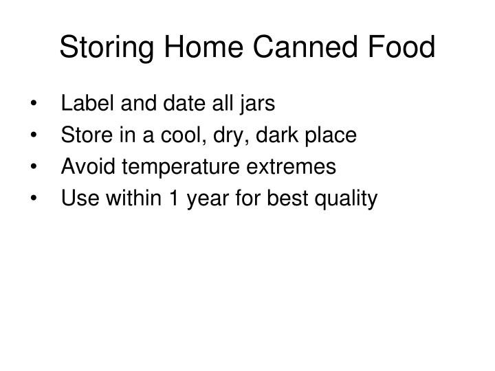 Storing Home Canned Food