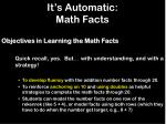 it s automatic math facts