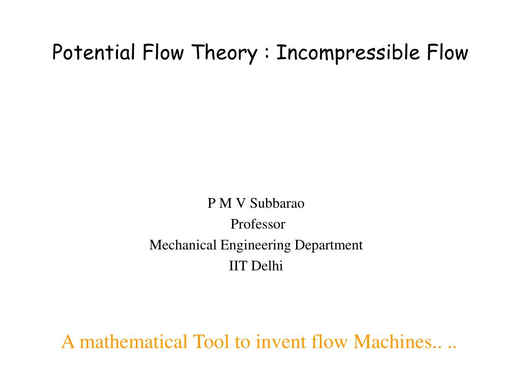 PPT - Potential Flow Theory : Incompressible Flow PowerPoint