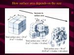 how surface area depends on the size