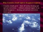 why cumulus clouds appear disappear reappear