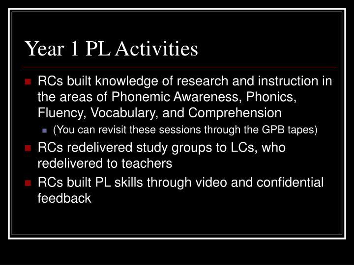 Year 1 pl activities