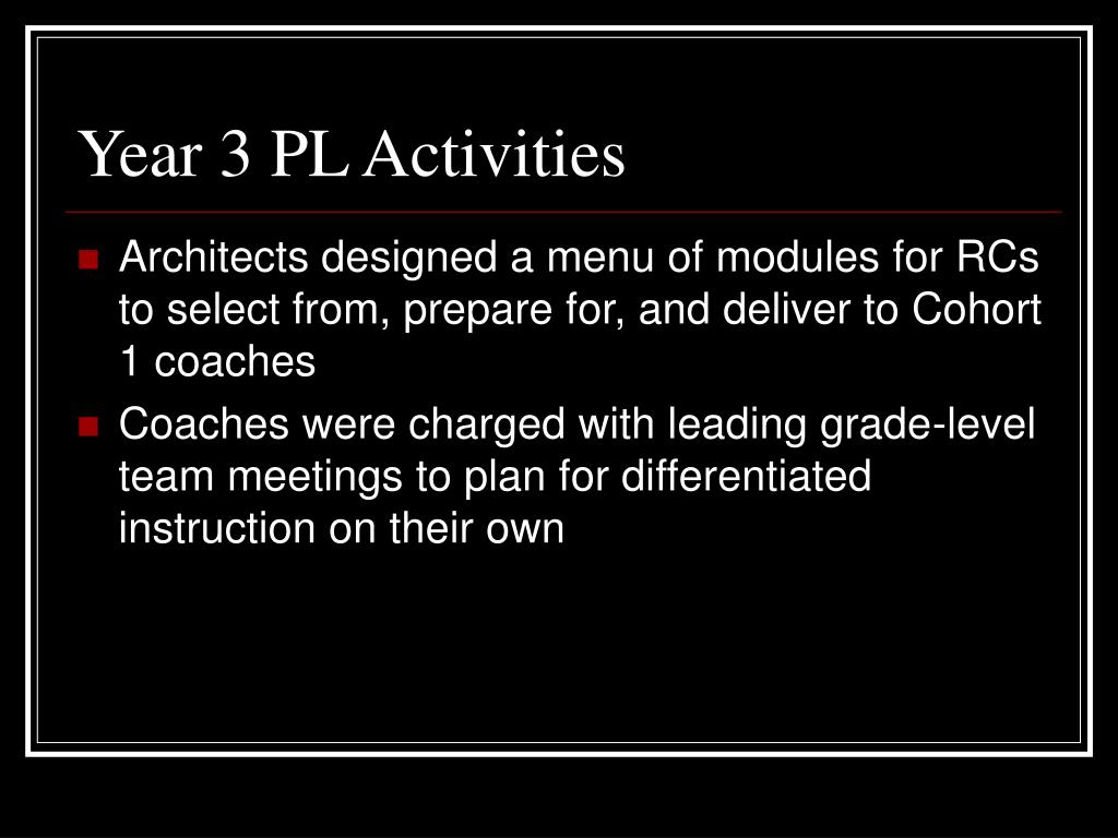Year 3 PL Activities