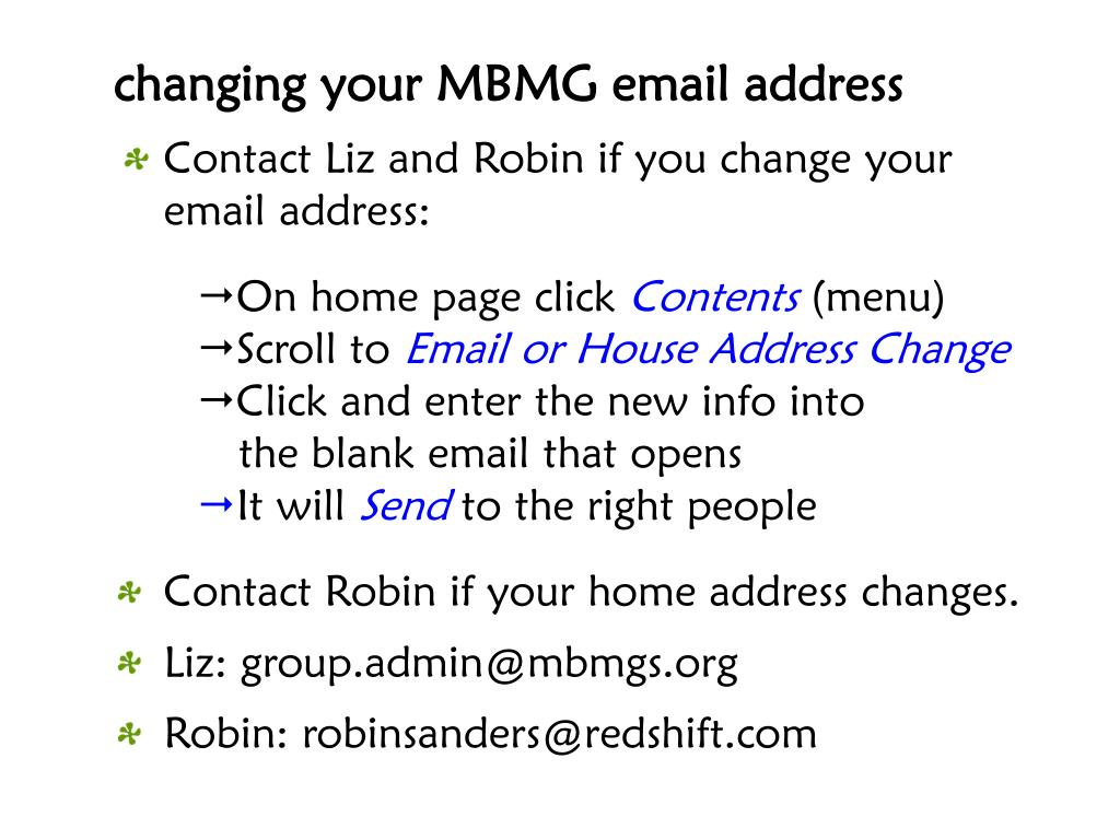changing your MBMG email address