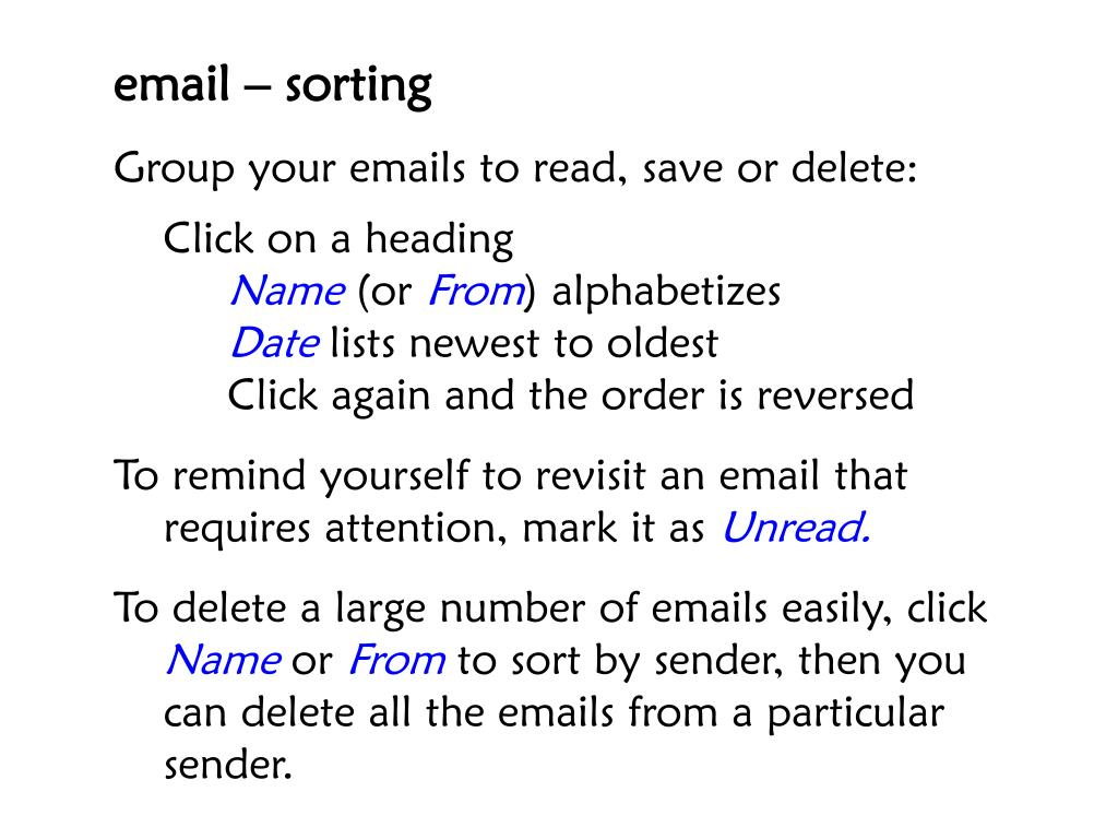 email – sorting