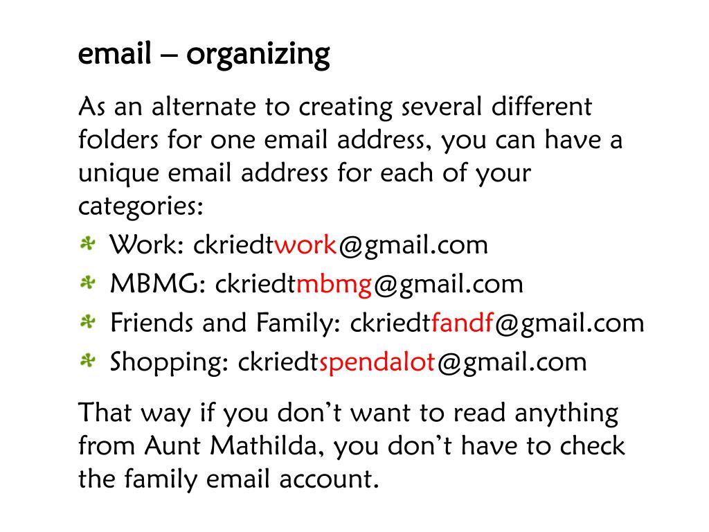 email – organizing