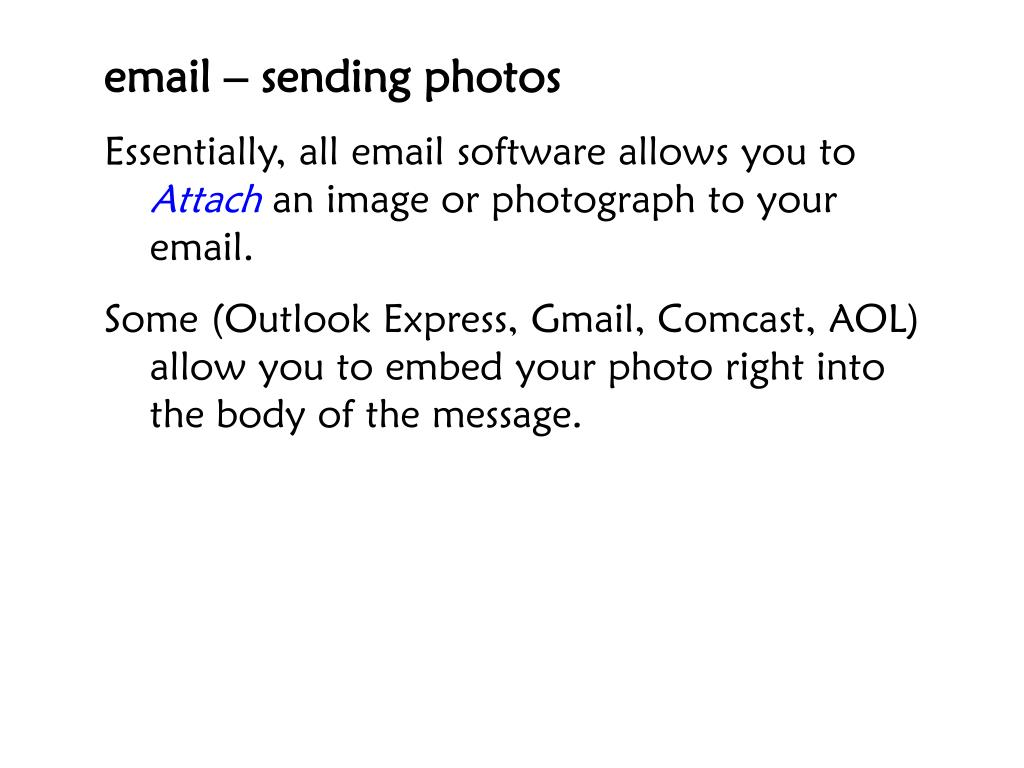 email – sending photos