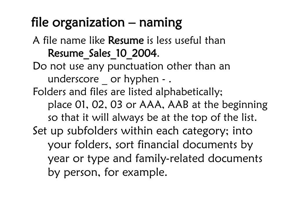 file organization – naming
