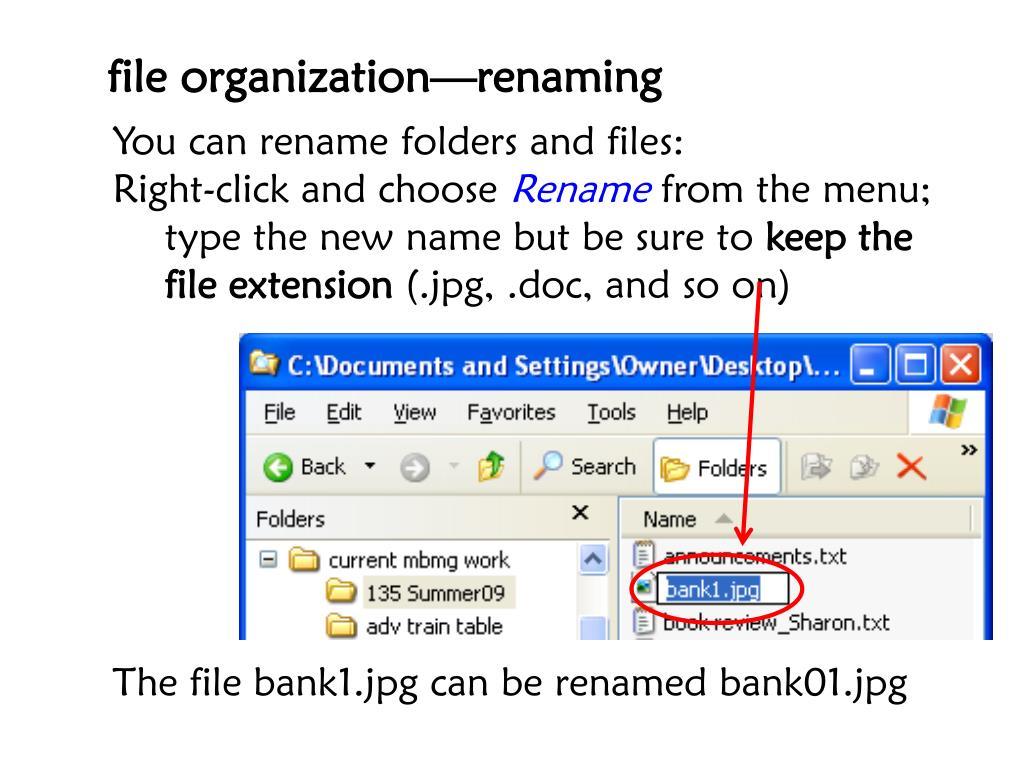 file organization—renaming