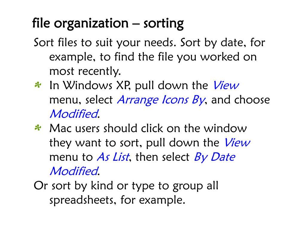 file organization – sorting