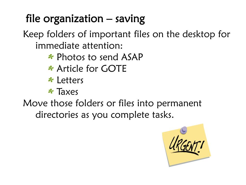 file organization – saving