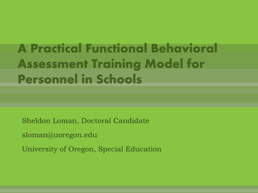 a practical functional behavioral assessment training model for personnel in schools l.