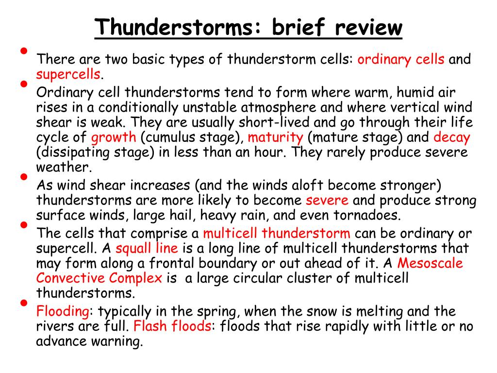 Thunderstorms: brief review