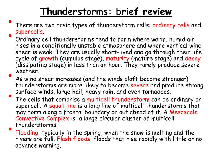 Thunderstorms brief review