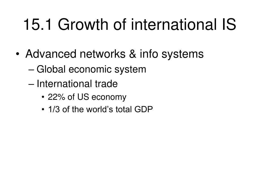 15.1 Growth of international IS