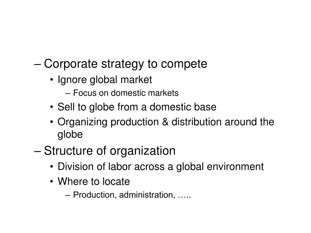 Corporate strategy to compete