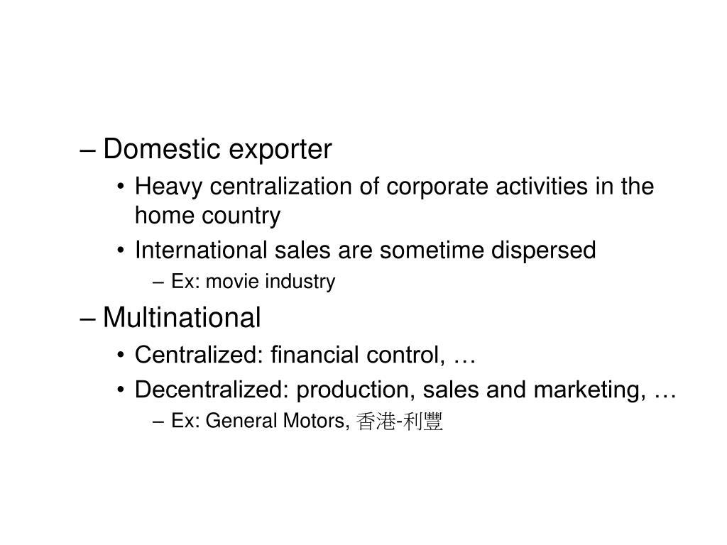 Domestic exporter