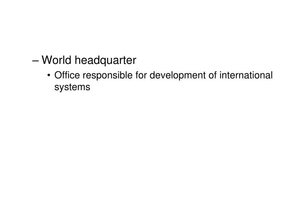 World headquarter